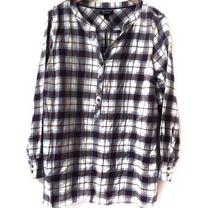Lands' End flannel shirt, long sleeve plaid 18W